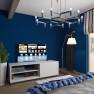Спальня в морском стиле с ярко-синими стенами.